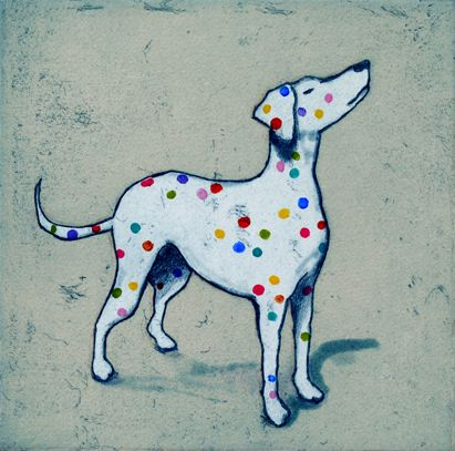 Mychael Barratt. Damien Hirst's Dog. Etching. Edition of 150. 22 x 22 cm. Artists in Residence