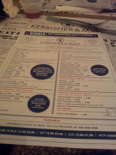 Kerbisher and Malt Menu