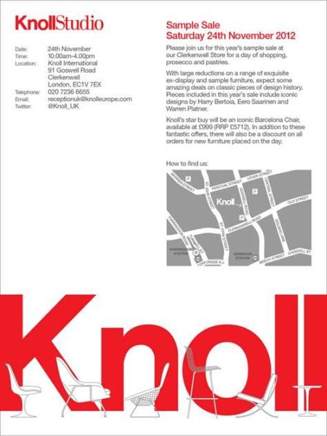 knoll sample sale invite