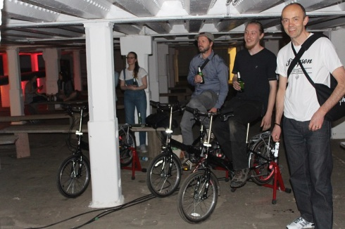 Bicycle powered cinema pedlers