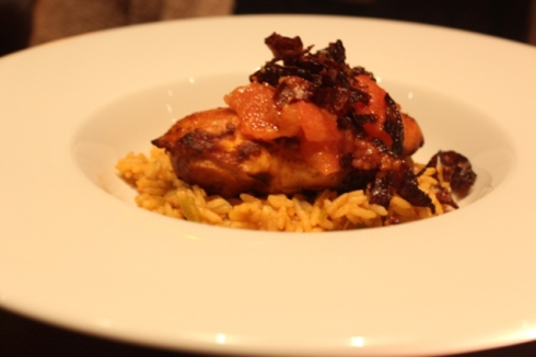 Mixed pepper and leek rice, roasted breast of chicken, salsa verde