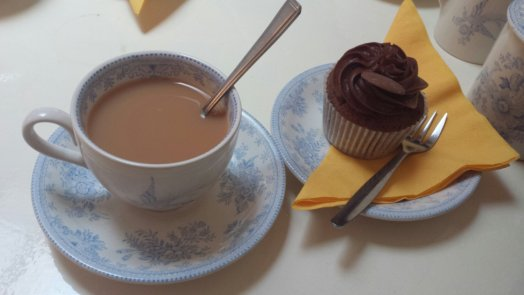 Classic chocolate cupcake and vanilla tea