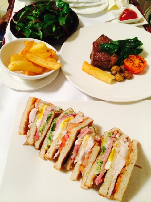 steak and club sandwich